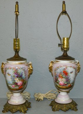 Pair Of Old Paris Lamps With Rams Head Detail.