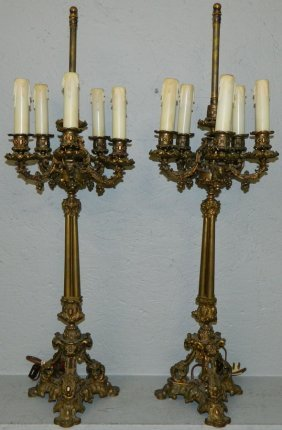 Pair Of French Bronze 5 Light Candelabras.