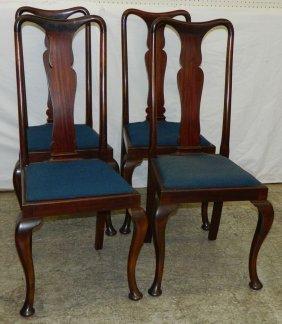 Set 4 Mahog. Warsaw Estate Queen Anne Chairs