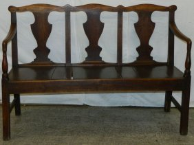 18th C. Fruitwood Chippendale Settle.