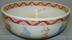 19th C. Oriental Salmon And Blue Bowl.