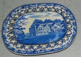 1 English 19th C. Staffordshire Dark Blue Platter