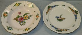 2 Polychrome Delft Bowl And Plate.