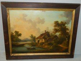 19th C Ooc Cottage On Lake Scene.