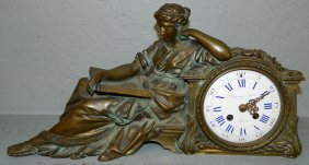 French Bronze Figure With Rango Frese Clock.