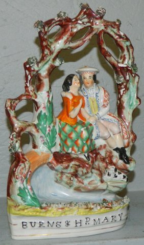 "19th C ""burns And Mary"" Staffordshire Figurine"