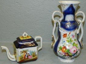 Old Paris Vase & Small Old Paris Scenic Tea Pot.