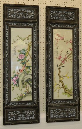 2 Framed Oriental Painted Porcelain Plaques
