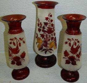 3 Vict. Ruby& Gold Enameled Vases W/ Bird Detail