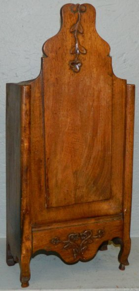 19th C. French Country Walnut Candle Box.