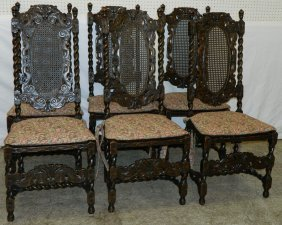 Set 6 Jacobean Barley Twist Caned Dining Chairs