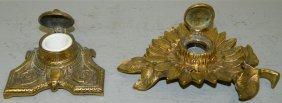 2 Brass Inkwells, One In Sunflower Design.