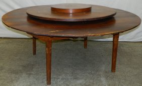 19th C.estate Heart Pine Nc Lazy Susan Table .