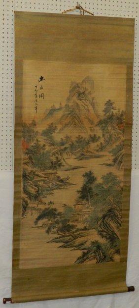 """Oriental Watercolor On Scroll. 66"""" Long."""