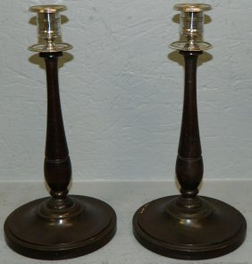 Pair Of Mahogany Turned Candle Sticks.