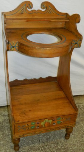 English Pine Paint Decorated Cut Out Wash Stand.