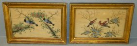 Pair Of Chinese Aviary Watercolors On Silk.