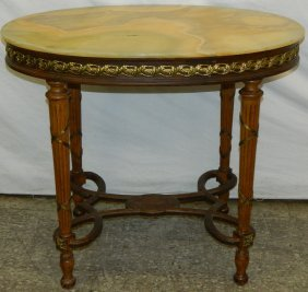 French Onyx Top Oal Brass Lnlaid Gold Table.