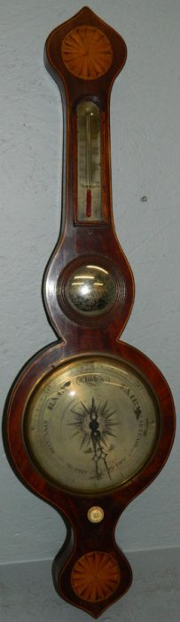 19th C. Inlaid Mahogany Banjo Barometer.