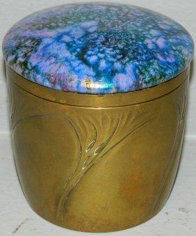 Austrian Art Glass And Brass Art Noveau Caddy.