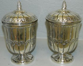 Pair Of Continental Sterling Covered Urns