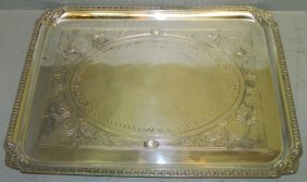 19th C Medallion Silver Plate Tray
