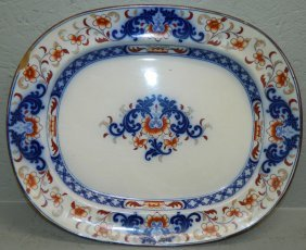 Flow Blue Ironstone Type Platter.
