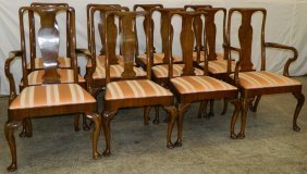 Set Of 12 Qa Bleach Mahog. Dining Chairs.