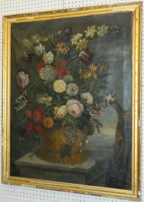 Late 18th- Early 19th C. Ooc Flemish Still Life.