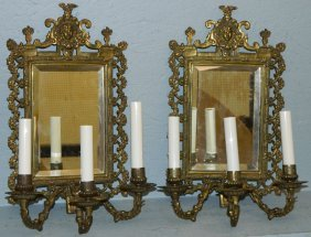 Pair Of Brass Mirrored Wall Sconces.