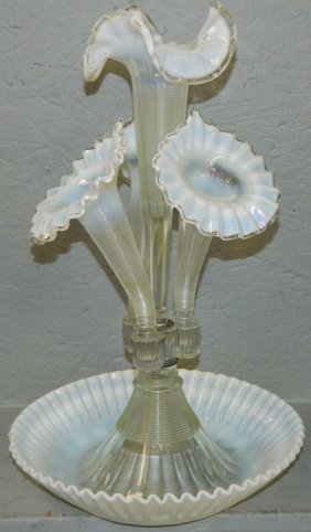 Opalescent Art Glass Epergne.