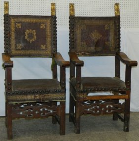 Pair Of 18th C. Signed Italian Walnut Arm Chairs.
