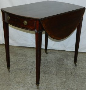 19th C. Period Hw Mahogany Pembroke Table.