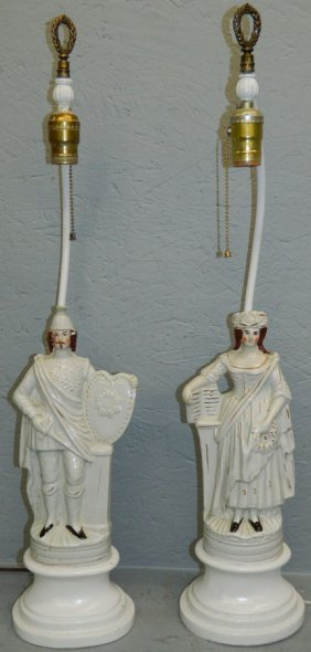 Pr 19th C Staffordshire Figures Mounted As Lamps.