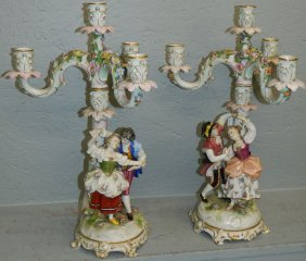 "Pair Of Capadamante Candelabras. 17"" Tall."