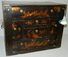 Chinoiserie Decorated Lock Side Cabinet.