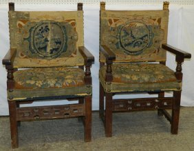 Pr 18th-19th C Carved Walnut Flemish Arm Chairs