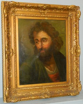 "26"" X 30"" Oil On Panel Portrait Of Bearded Man."