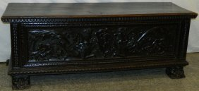 Early 18th C. Italian Carved Walnut Cassone.