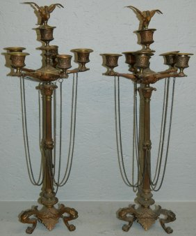 "Pair Of Empire Bronze Candelabras. 23"" Tall."