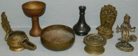 7 Pieces Early Brass Lamp And Miscellaneous.