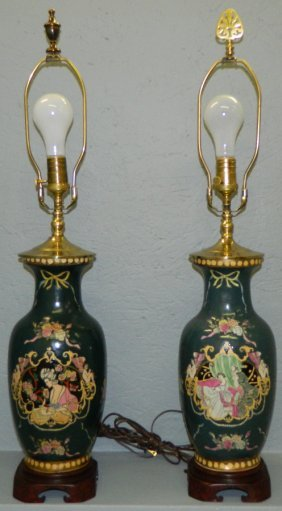 Pair Of Floral And Figural Pottery Vase Lamps.