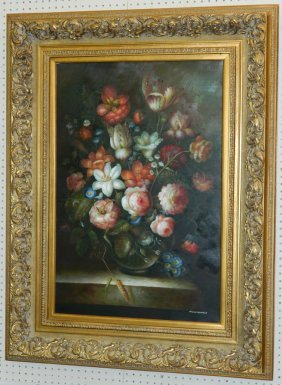 "38"" X 50 "" Ooc Floral Still Life Signed ""thurman""."