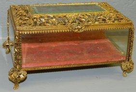 Bevel Glass Reticulated Brass French Dresser Box.