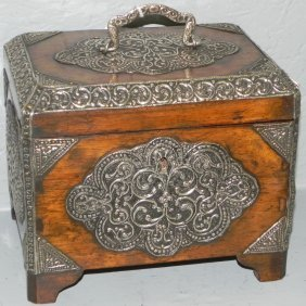 Mahogany And Silver Dovetailed Footed Caddy