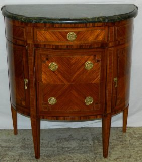 French Satin Inlaid M.t. Demilune Commode.
