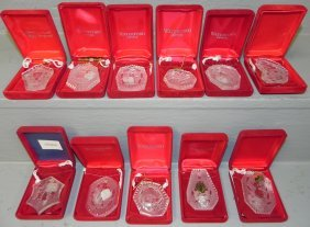 11 Orig. Box Signed Waterford Xmas Ornaments