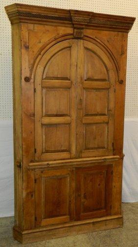 19th C. Barrel Back Pickled Pine Corner Cupboard.