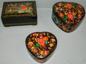 3 Russian Paper Mache Hand Painted Boxes.