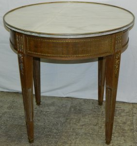 Round French Marble Top Table W/ Ormolu Mounts